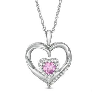 NWT Zales Silver Heart Sapphire Heart Necklace